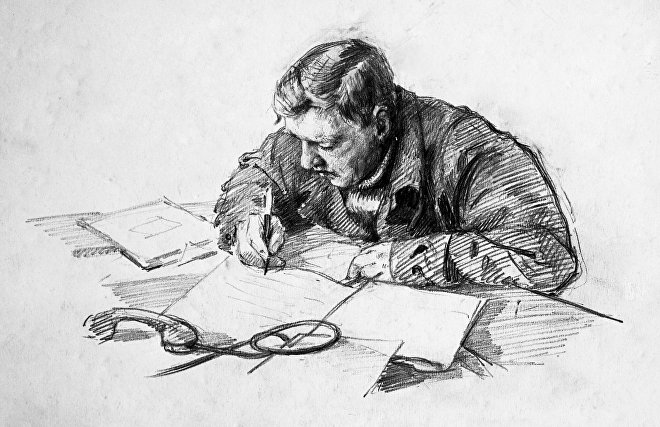Drawing of Eugene P. Tolstikov (head of drifting polar station North Pole-4, PhD in Geography). Igor Ruban (born 1912)