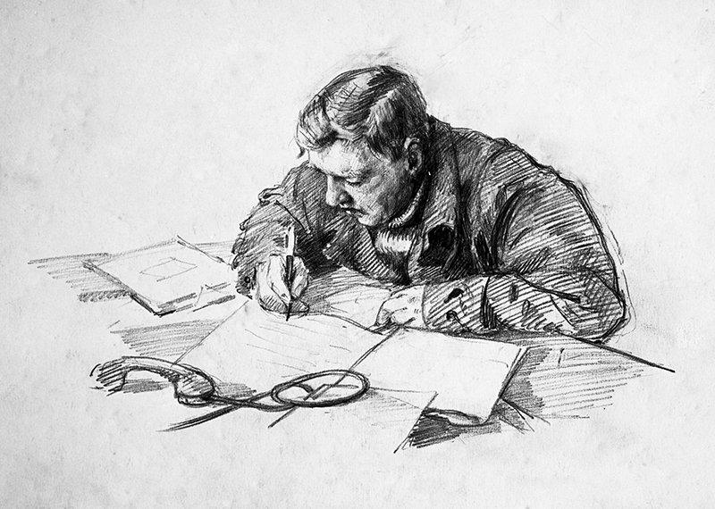 Drawing of Eugene P. Tolstikov (head of drifting polar station North Pole-4, PhD in Geography). Igor Ruban (born 1912)