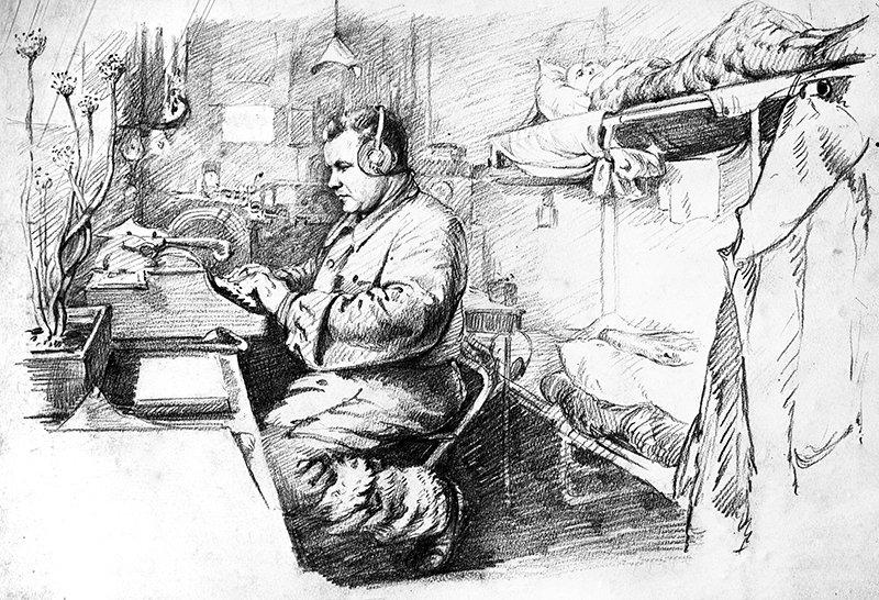 Drawing Radio Operator Igor Zebedee Takes Another Telegram (drifting polar station North Pole-4). Igor Ruban (born 1912)