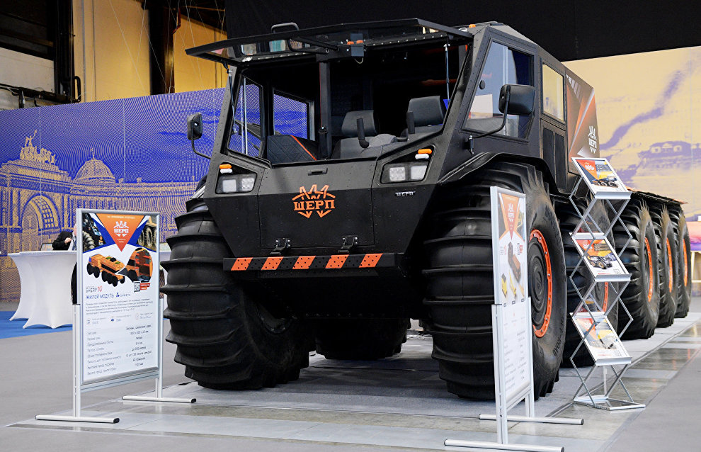 The Sherp ATV displayed at the 9th International Forum The Arctic: Today and the Future, in St. Petersburg