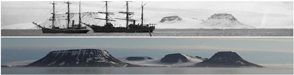 Архивные фото, сделанные американской экспедицией под руководством Эвелина Болдуина (1901 год), и фото археологической экспедиции национального парка «Русская Арктика» (2018 год)