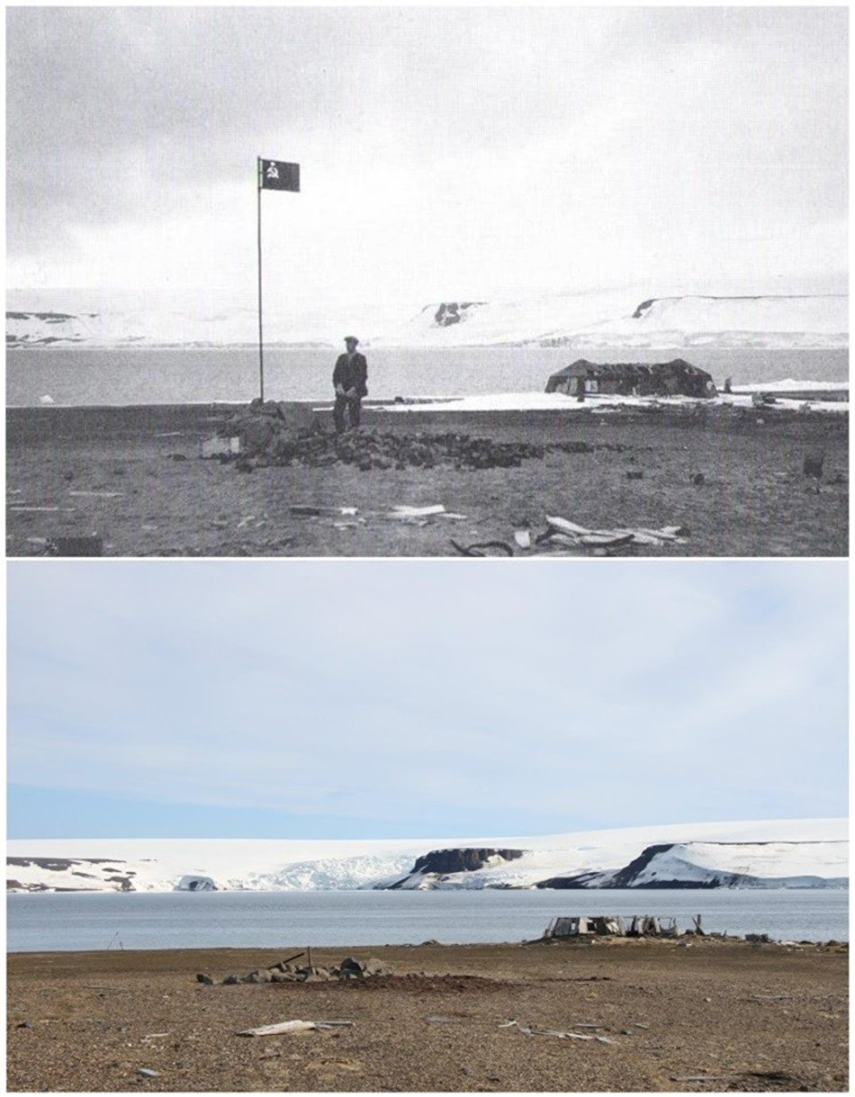 Archival photos taken by Norwegian sailors from the vessel Bratwaag, with a Russian flag with the American base camp in the background (1930), and photos by the Russian Arctic National Park archaeological expedition (2018)