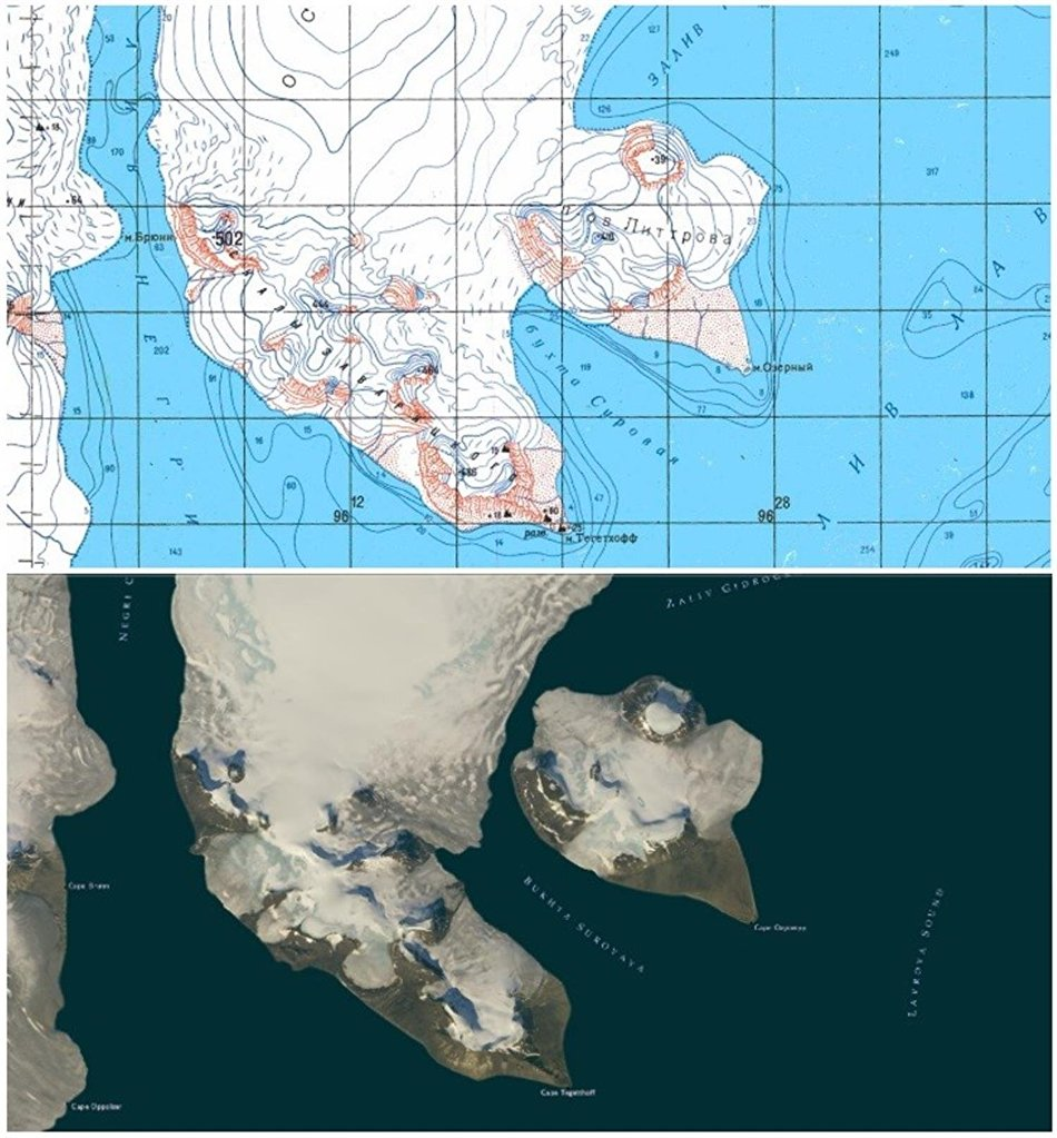 A topographic map of Franz Josef Land and a contemporary photo of the archipelago taken from space
