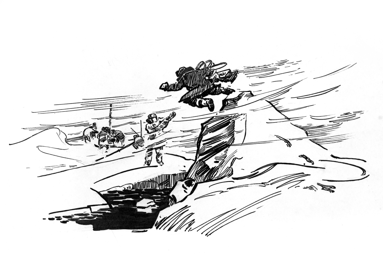 Графический рисунок «Радиомеханик становится акробатом». Полярная станция «СП-10». Репродукция. Художник Герман Николаевич Макаров