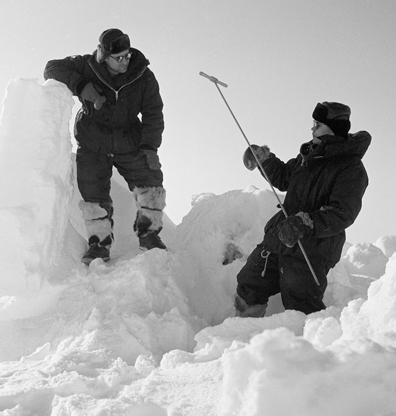 Polar pilots measuring the thickness of ice, North Pole 11 drifting station, Arctic