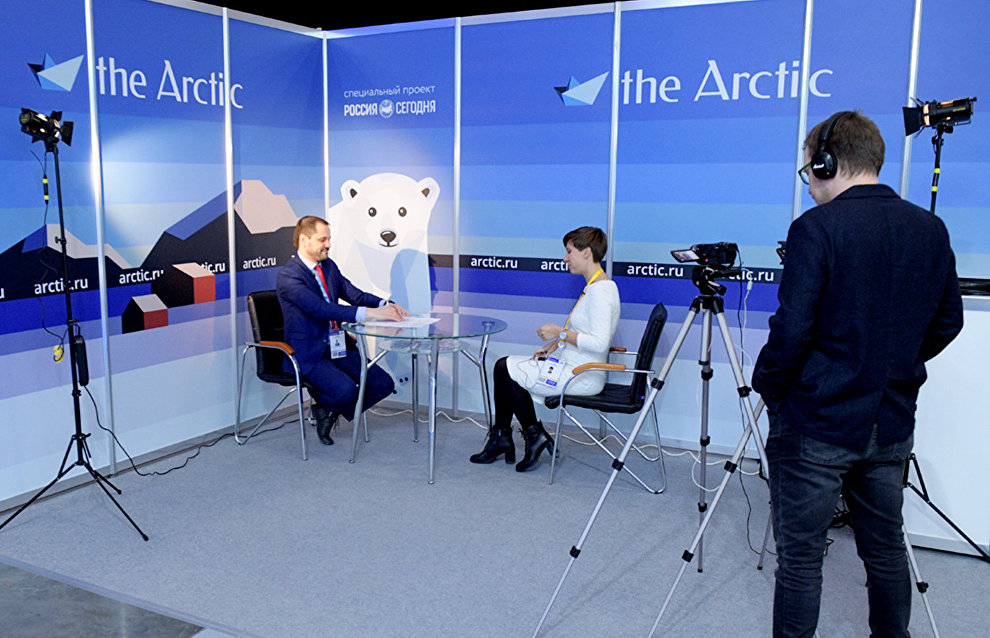Minister of Natural Resources and Environment of the Komi Republic Roman Polshvedkin gives an interview to Rossiya Segodnya International Information Agency on the sidelines of the 9th International Forum The Arctic: Today and the Future, in St. Petersburg