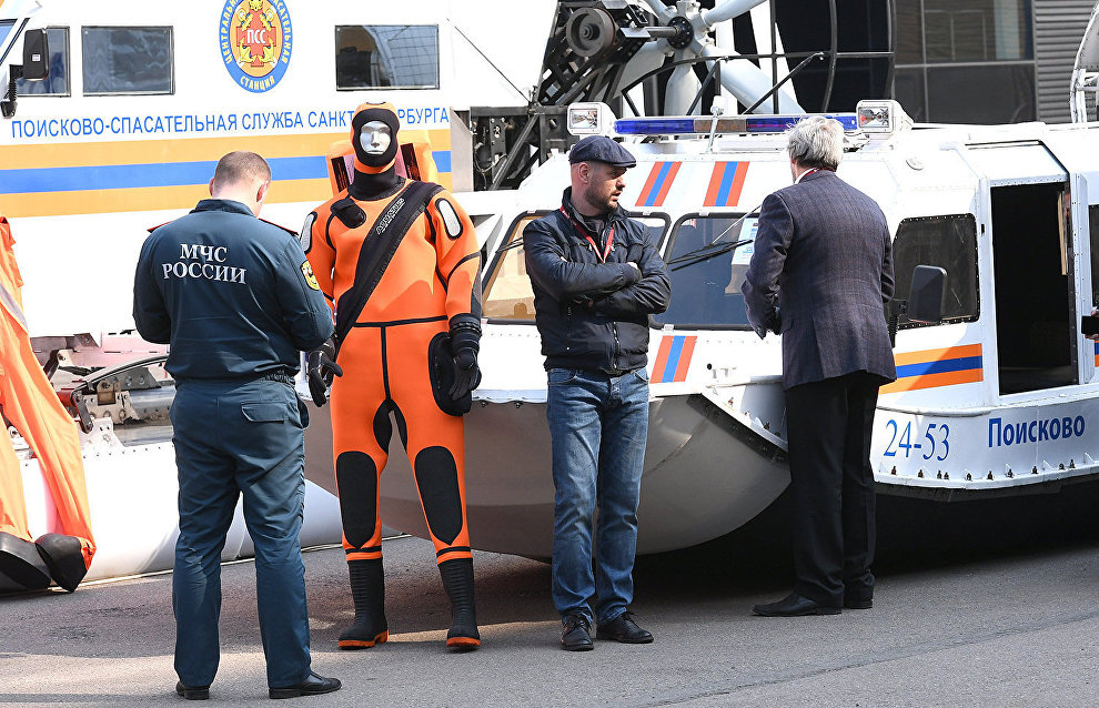 St Petersburg's search-and-rescue service protective suits displayed at The Arctic: Territory of Dialogue 5th International Arctic Forum in St Petersburg