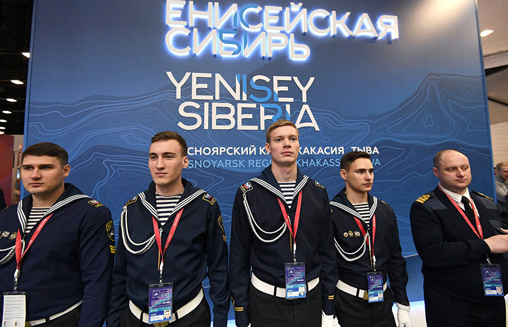 Sailors at the Yenisei Siberia stand at The Arctic: Territory of Dialogue 5th International Arctic Forum in St Petersburg