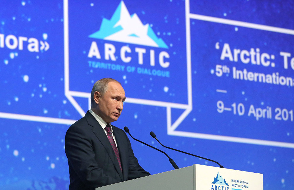 President of Russia Vladimir Putin speaks at the plenary session of The Arctic: Territory of Dialogue 5th International Arctic Forum in St Petersburg