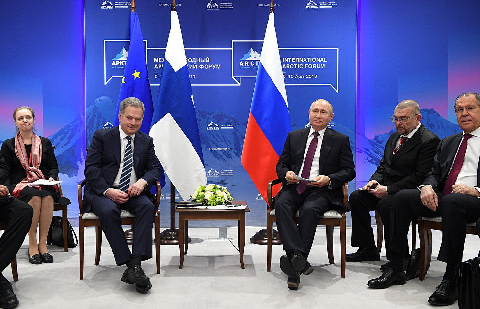 President of Russia Vladimir Putin and President of the Republic of Finland Sauli Niinisto meet on the sidelines of The Arctic: Territory of Dialogue 5th International Arctic Forum in St Petersburg