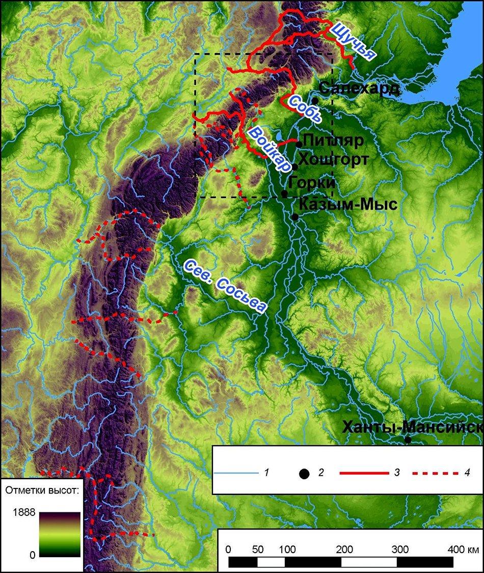 Сквозные долины через северный Урал. 1 – гидросеть; 2 – населённые пункты, сквозные долины; 3 – основные; 4 – второстепенные