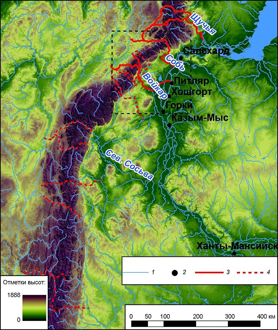 Antecedent valleys across the northern Urals. 1 – water system; 2 – residential locations, antecedent valleys; 3 –main; 4 – secondary