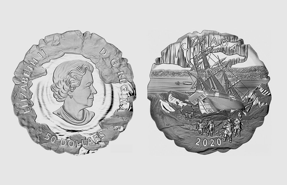 A coin released to commemorate the 175th anniversary of Franklin's lost expedition