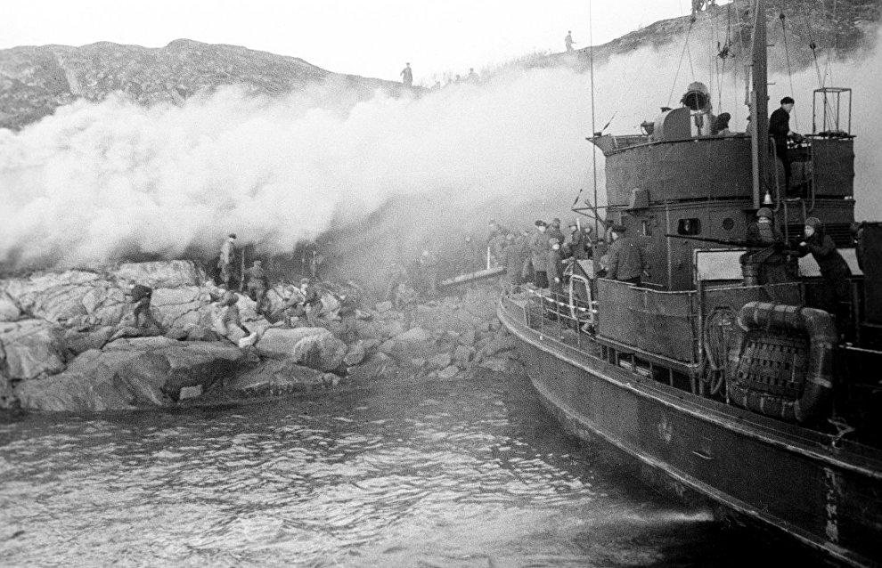 World War II. The Northern Fleet. Landing party in Petsamo