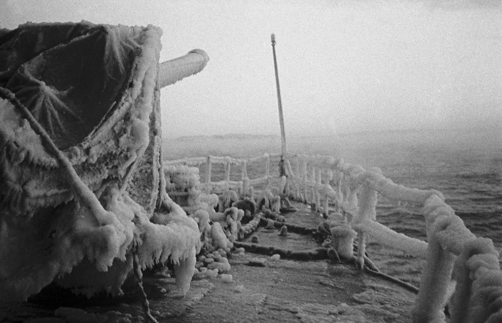 The Kuibyshev torpedo boat covered with ice. The Northern Fleet