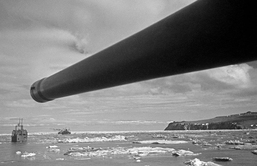 The Joseph Stalin ice boat pilots military convoys along the Northern Sea Route during the WWII