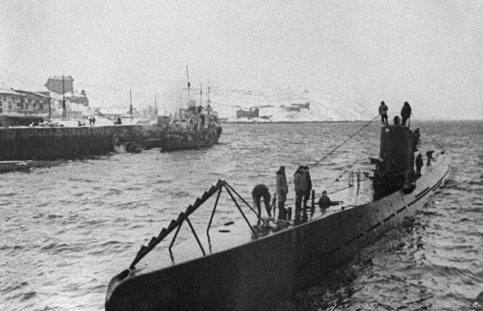 Guards submarine S-56 moored in Polyarny town
