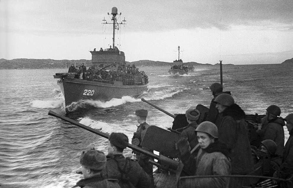 Great Patriotic War of 1941-45. The Northern Fleet ships with landing troops on their way to Petsamo