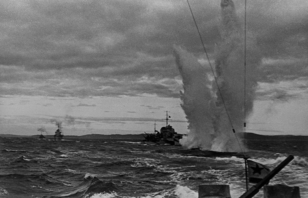 Great Patriotic War (1941-1945). Northern Fleet's ships (D-3 torped boats) during a fight with German submarines